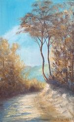 Mountain trail, Paintings, Fine Art,Impressionism, Landscape,Nature, Oil,Wood, By Angela Suto