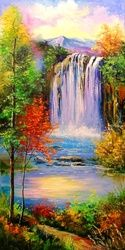 Mountain waterfal, Paintings, Impressionism, Botanical,Floral,Land Art,Landscape,Nature, Canvas,Oil,Painting, By Olha   Darchuk