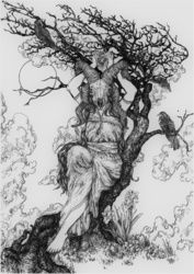 Mountain Witch, Decorative Arts,Drawings / Sketch,Folk Art,Illustration,Tattoo, Commercial Design,Existentialism,Expressionism,Fine Art,Modernism,Realism,Surrealism,Symbolism, Anatomy,Composition,Conceptual,Daily Life,Decorative,Environmental art,Erotic,Fantasy,Floral,Grotesque,Mythical,Nature,Nudes,Religious,Spiritual,Still Life, Ink, By Misia Slemp