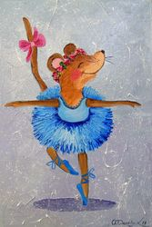 Mouse in the dance, Paintings, Fine Art,Impressionism, Animals,Dance,Humor, Canvas,Oil,Painting, By Olha   Darchuk