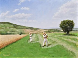 Mowing the Clover, Paintings, Fine Art,Impressionism,Realism, Landscape,Nature, Canvas,Oil, By Dejan Trajkovic