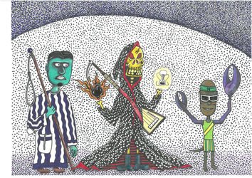 Mrs. Death should be valued, a<br>completely crazy story - but<br>true - outsider drawing of<br>poor amateur, Drawings / Sketch, Fine Art,Modernism,Primitive,Satire, Art Brut,Avant-Garde,Fantasy,Humor,Mythical, Mixed, By Kost Koža outsider art and stories