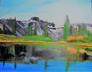 Mt. Herman and Table Mountain, Land Art,Paintings, Fine Art,Realism, Landscape,Nature, Canvas,Oil,Painting, By Lana Fultz