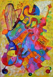 Music mashine, Paintings, Expressionism,Impressionism, Music, Oil, By Vyara Tichkova