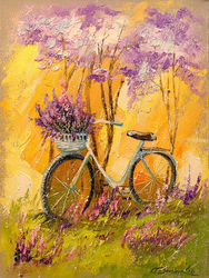My bike, Paintings, Impressionism, Botanical,Landscape,Nature, Canvas,Oil,Painting, By Olha   Darchuk