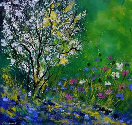 My garden in spring, Paintings, Expressionism, Landscape, Canvas, By Pol Ledent