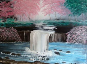 My Waterfall Garden, Land Art,Paintings, Fine Art, Botanical,Floral,Landscape, Canvas,Oil,Painting, By Lana Fultz