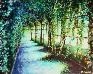 Mysterious orangery, Paintings, Fine Art, Architecture,Floral,Landscape, Acrylic,Canvas, By Marta Kuźniar