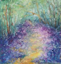 Mystic meadow, original spring<br>forest oil painting, Paintings, Fine Art,Impressionism,Modernism, Land Art,Landscape,Moving Images,Nature, Oil,Painting, By Emilia Milcheva