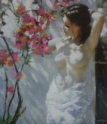 Naked in Garden, Drawings / Sketch,Paintings, Realism, Erotic,Figurative,Nudes, Acrylic, By Alireza Behdani