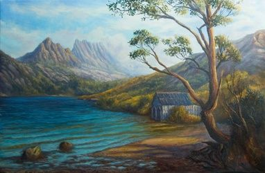 Near the summit of Cradle<br>Mountain, Tasmania, Paintings, Fine Art,Realism,Romanticism, Landscape, Canvas,Oil,Painting, By Christopher Vidal