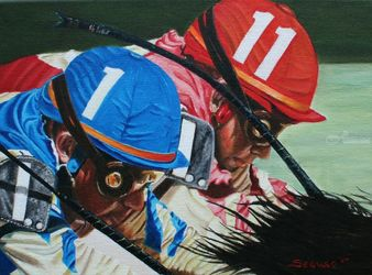 Neck & Neck 1, Paintings, Fine Art,Realism, Animals,Composition,Figurative,Moving Images,People, Canvas, By Rick Seguso