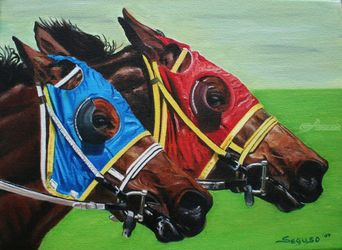 Neck & Neck 2, Paintings, Fine Art,Realism, Animals,Composition,Moving Images,People, Canvas, By Rick Seguso