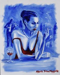 Never Again, Etude in Blue No.<br>5, Paintings, Fine Art,Impressionism, Figurative,Narrative, Canvas,Oil,Painting, By Mark Maguire