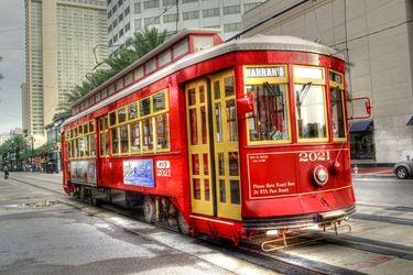 New Orleans - Canal Street<br>Trolley, Photography, Fine Art, Cityscape,Daily Life,Historical, Digital, By Timothy Lowry