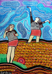 New paintings from Israel by<br>Mirit Ben-Nun, Paintings, Pop Art, People, Gouache, By Mirit Ben-Nun