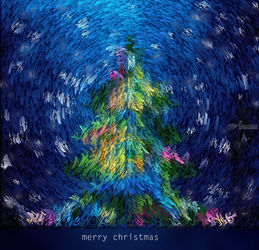 New Year and Christmas card,<br>tree with snowflakes set in<br>the style of Van Gogh, Digital Art / Computer Art, Abstract,Chance,Expressionism, Composition,Decorative,Fantasy, Digital, By Dmitry Posudin
