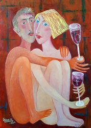 New year's night, Paintings, Modernism, Erotic, Canvas, By ZAKIR AHMEDOV