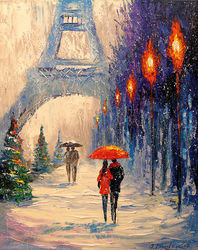 New year's Paris, Paintings, Impressionism,Romanticism, Cityscape,Landscape,Nature, Canvas,Oil,Painting, By Olha   Darchuk