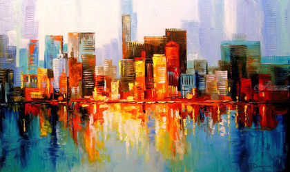 New York, Paintings, Impressionism, Architecture,Land Art,Landscape, Canvas,Oil,Painting, By Olha   Darchuk