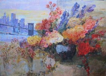 New York and Flowers, Paintings, Impressionism, Cityscape, Acrylic,Canvas, By slobodan paunovic
