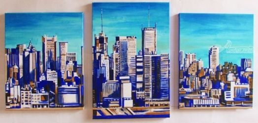 New York, New York..., Paintings, Fine Art,Pop Art, Architecture,Landscape, Acrylic,Canvas, By Kateryna Bortsova
