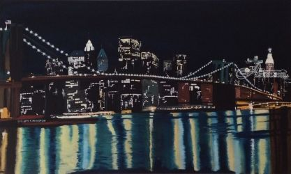 New York's Brooklin Bridge by night, Folk Art,Illustration,Paintings, Fine Art, Architecture, Canvas,Oil,Painting, By Claudia Luethi alias Abdelghafar