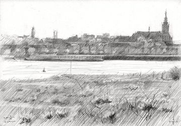 Nijmegen - 21-04-14, Drawings / Sketch, Abstract,Fine Art,Impressionism,Realism, Architecture,Composition,Figurative,Inspirational,Landscape,Nature, Pencil, By Corne Akkers