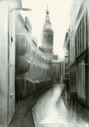 Nijmegen - Priemstraat -<br>30-01-16, Drawings / Sketch, Abstract,Cubism,Fine Art,Impressionism,Realism,Surrealism, Architecture,Cityscape,Composition,Inspirational, Pencil, By Corne Akkers