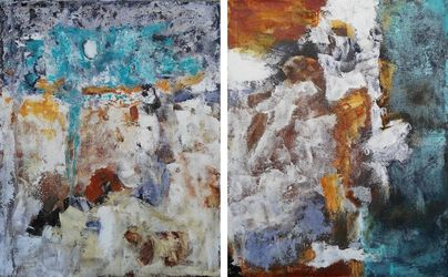 NOCTURNE set of two abstract<br>paintings 2x 50x60cm, Paintings, Abstract,Expressionism,Modernism, Architecture,Celestial / Space,Composition,Nature, Acrylic, By Emilia Milcheva
