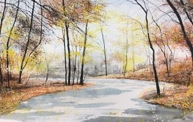 River Fall, Paintings, Impressionism, Landscape, Watercolor, By Stephen Keller