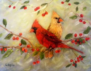 Northern Cardinal Pair, Paintings, Fine Art,Impressionism,Realism, Wildlife, Oil, By Loretta Luglio