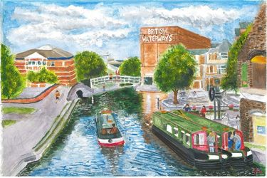 Nottingham Canal View from<br>Carrington Bridge, Paintings, Realism, Cityscape, Watercolor, By Michelle Archer