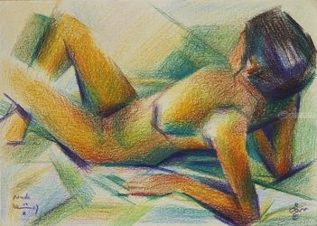 Nude - 01-10-17, Drawings / Sketch, Abstract,Cubism,Fine Art,Impressionism,Realism,Surrealism, Anatomy,Composition,Erotic,Figurative,Inspirational,Nudes,People, Pencil, By Corne Akkers
