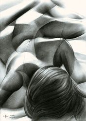 Nude - 13-01-16 (sold), Drawings / Sketch, Abstract,Cubism,Impressionism,Realism,Surrealism, Anatomy,Composition,Erotic,Figurative,Inspirational,Nudes,People, Pencil, By Corne Akkers
