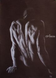 Nude, Chalk,Drawings / Sketch,Paper Art, Fine Art,Photorealism,Realism, Erotic,Nudes,People, Pastel, By Kateryna Bortsova