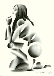 Nude - 27-05-16, Drawings / Sketch, Abstract,Cubism,Fine Art,Impressionism,Realism,Surrealism, Anatomy,Composition,Erotic,Inspirational,Nudes,People, Pencil, By Corne Akkers