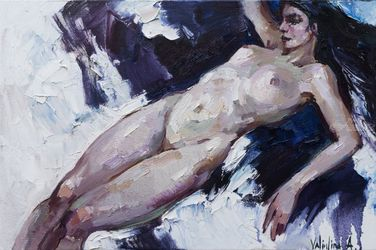 Nude girl, Paintings, Impressionism, Nudes,People,Portrait, Canvas,Oil, By Anastasiya Valiulina