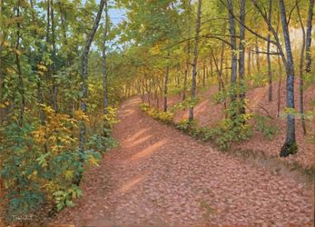 Oak Forest, Paintings, Fine Art,Photorealism,Realism, Landscape,Nature, Canvas,Oil, By Dejan Trajkovic