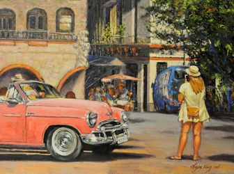 Obispo Plaza in Havana, Paintings, Impressionism, Landscape, Canvas,Oil, By Mason Kang