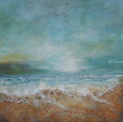 Oceanside, Decorative Arts, Abstract, Seascape, Acrylic,Canvas, By Graciela Castro