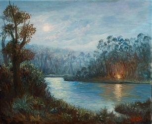 Oil on canvas - Camp fire by<br>the lake, Paintings, Realism,Romanticism, Landscape, Canvas,Oil,Painting, By Christopher Vidal