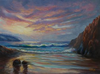 Oil on loose Belgian linen -<br>Snelling beach , Kangaroo<br>Island, Paintings, Fine Art,Impressionism,Realism, Landscape,Seascape, Canvas,Oil, By Christopher Vidal