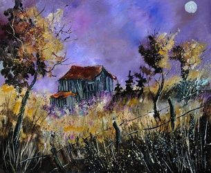 Old barn, Architecture,Decorative Arts,Drawings / Sketch,Paintings, Impressionism, Landscape, Canvas, By Pol Ledent