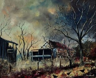 Old barn 76, Architecture,Decorative Arts,Drawings / Sketch,Paintings, Impressionism, Botanical, Canvas, By Pol Ledent