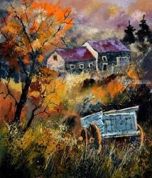 Old barrow, Architecture,Decorative Arts,Drawings / Sketch,Paintings, Expressionism, Landscape, Canvas, By Pol Ledent