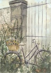 Old bike, Paintings, Fine Art,Realism, Architecture,Fantasy,Wildlife, Painting,Watercolor, By Eugene Gorbachenko