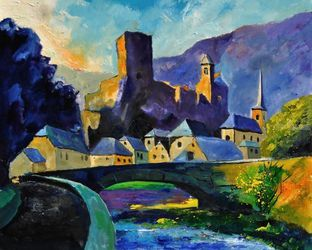 Old castle, Architecture,Decorative Arts,Drawings / Sketch,Paintings, Expressionism, Landscape, Canvas, By Pol Ledent