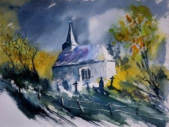 Old chapel in Houroy, Paintings, Expressionism, Landscape, Painting, By Pol Ledent