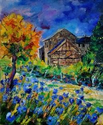 Old houses and blue flowers, Architecture,Decorative Arts,Drawings / Sketch,Paintings, Impressionism, Landscape, Canvas, By Pol Ledent
